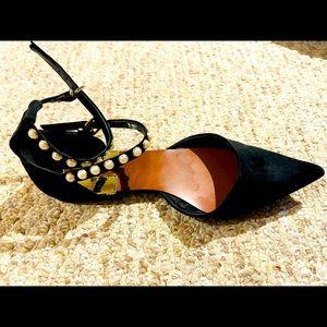Zara Pointy Black Pearl Ankle Strap Flats